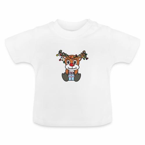 Rentier mit Lichterkette - Baby T-Shirt