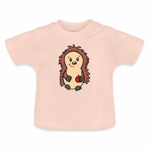 Igel mit Apfel in der Hand - Baby T-Shirt