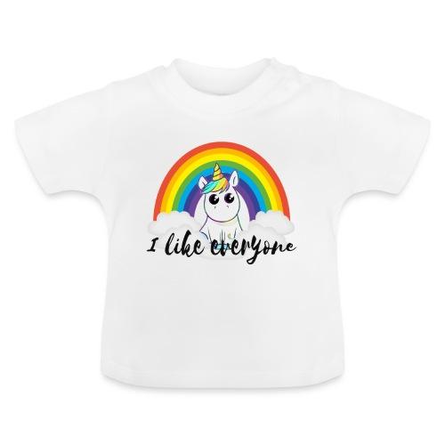 Unicorn i like everyone Mensch ist Mensch - Baby T-Shirt