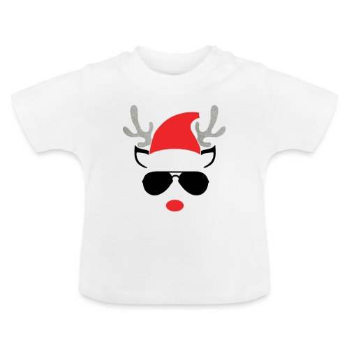 Cute Christmas Reideer with glasses for boys - Baby T-Shirt