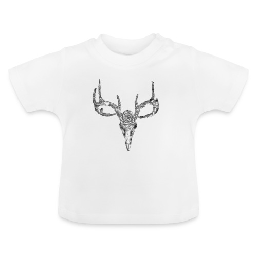 Deer skull with rose - Vauvan t-paita