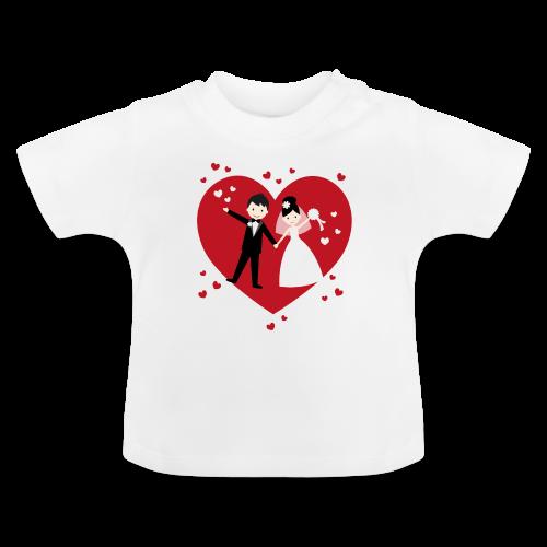 Hochzeitspaar mit vielen Herzen - Rot - Baby T-Shirt