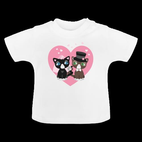 Katzen-Braut und Katzen-Bräutigam - Hochzeitspaar - Baby T-Shirt