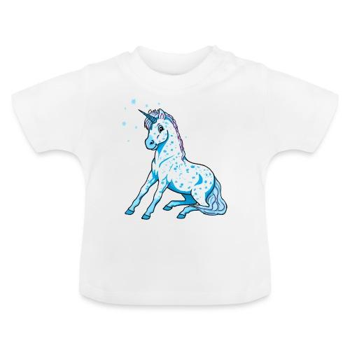 Pünktchen Einhorn Blau - Baby T-Shirt