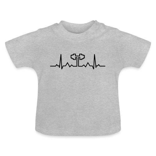Herzschlag-Hantel, Bodybuilding, Crossfit, Fitness - Baby T-Shirt