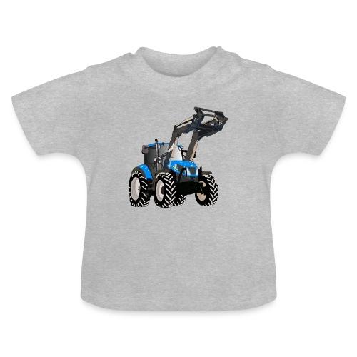 Blauer Traktor mit Frontlader - Baby T-Shirt
