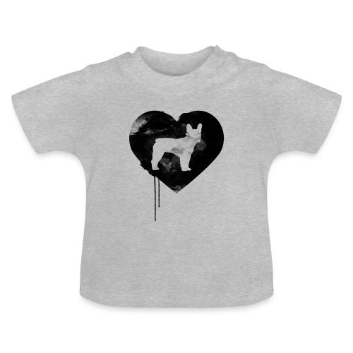 Französische Bulldogge Herz mit Silhouette - Baby T-Shirt
