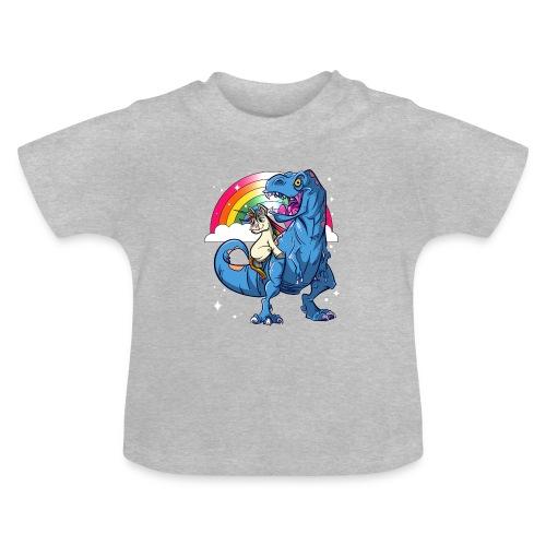 Dinosaurier mit Einhorn - Baby T-Shirt