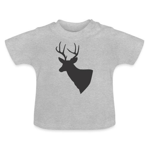 Silueta trofeo ciervo en negro. - Camiseta bebé