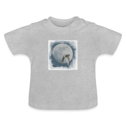 Flying owl full moon watercolor photo art - Baby T-Shirt