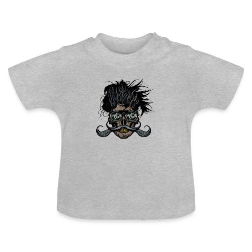 hipster skull tete de mort crane barbu moustache - T-shirt Bébé