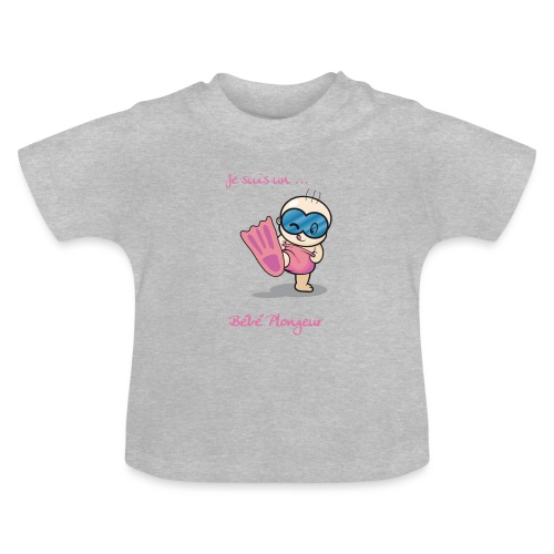 je suis un bebe plongeur rose - T-shirt Bébé