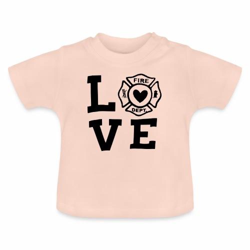 Black Design Love Firefighter - Baby T-Shirt