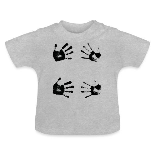 Schwarze Handabdrücke. Geschenk - Maglietta per neonato