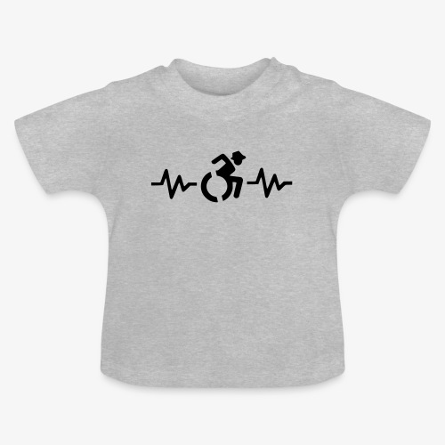 Rolstoel gebruiker met hartslag 001 - Baby T-shirt