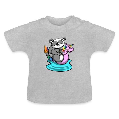 Panda mit Einhorn Schwimmreifen - Baby T-Shirt
