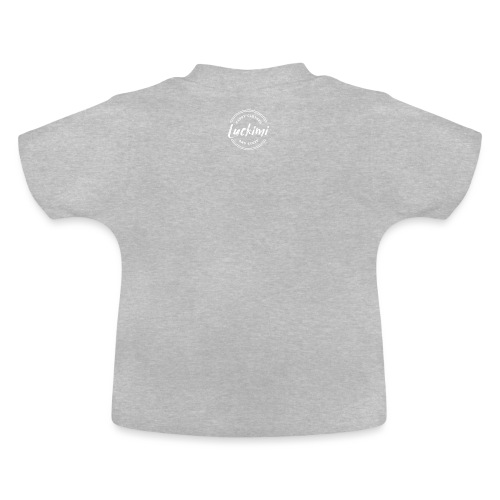 Luckimi logo circle small white back - Kids - Baby T-Shirt