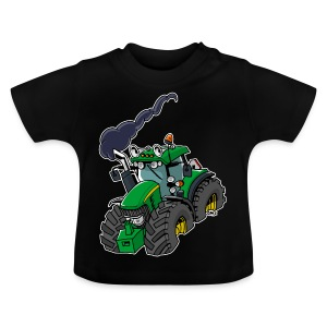 GREEN TRACTOR white border - Baby T-shirt