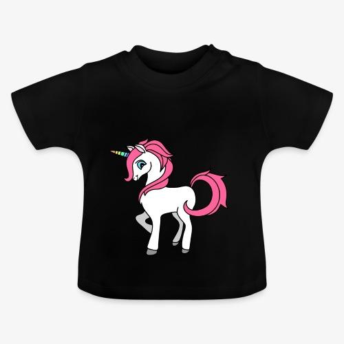 Süsses Einhorn mit rosa Mähne und Regenbogenhorn - Baby T-Shirt