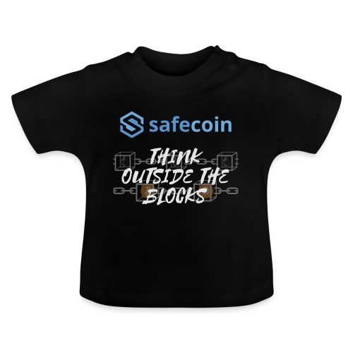 SafeCoin; Think Outside the Blocks (blue + white) - Baby T-Shirt