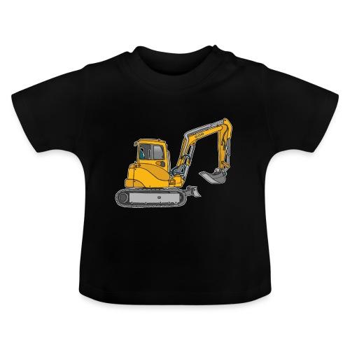 BAGGER, gelbe Baumaschine mit Schaufel und Ketten - Baby T-Shirt
