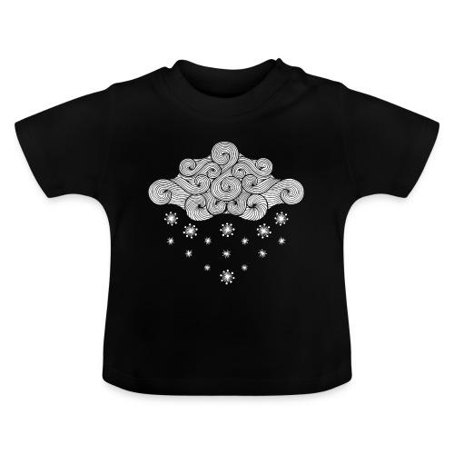 nuage blanc et flocons vacances d'hiver - T-shirt Bébé