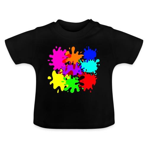 bunte Farbkleckse Paintballflecken - Baby T-Shirt