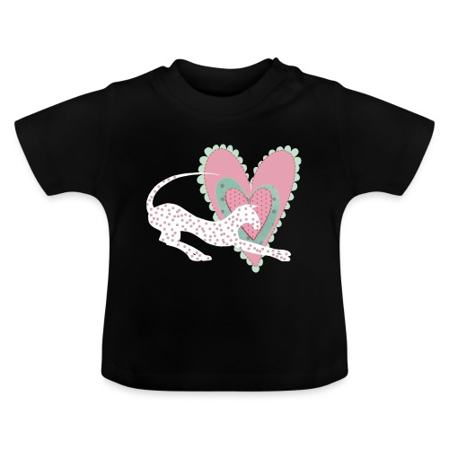 Vit katt rosa hjärta prickar - Baby-T-shirt