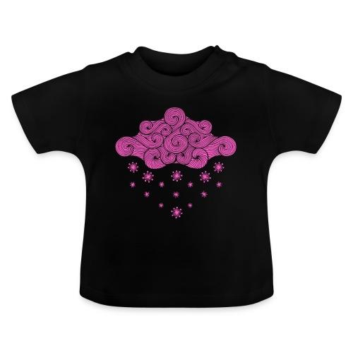 nuage rose et flocons vacances d'hiver - T-shirt Bébé