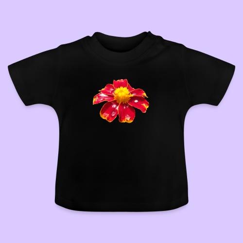 rote Ringelblume mit Regentropfen, Blume, Blüte - Baby T-Shirt