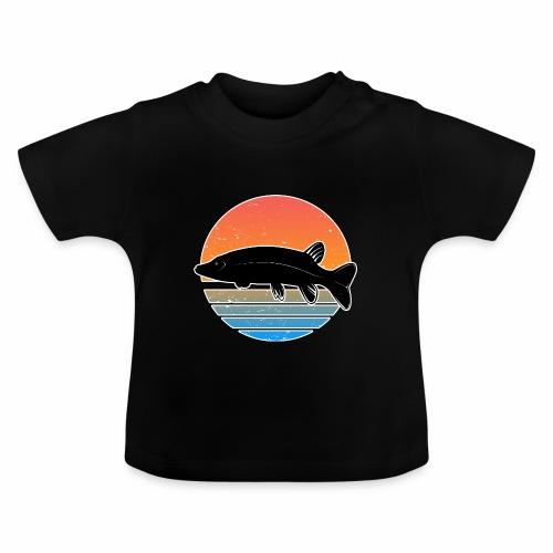 Retro Hecht Angeln Fisch Wurm Raubfisch Shirt - Baby T-Shirt