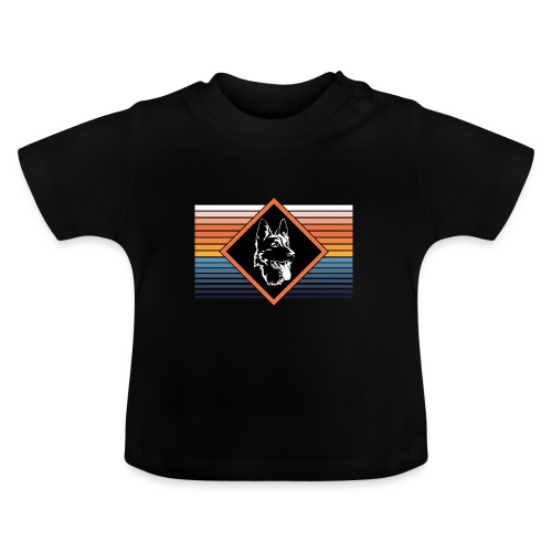 Portrait deutscher Schäferhund Retro Streifen - Baby T-Shirt
