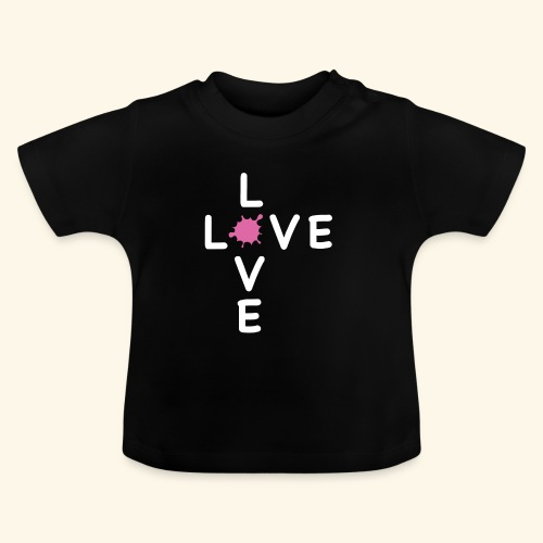 LOVE Cross white klecks pink 001 - Baby T-Shirt