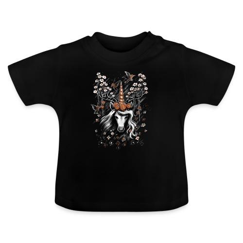 Deer Unicorn Flowers - Baby T-Shirt