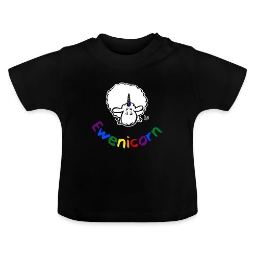 Ewenicorn (schwarze Ausgabe Regenbogentext) - Baby T-Shirt
