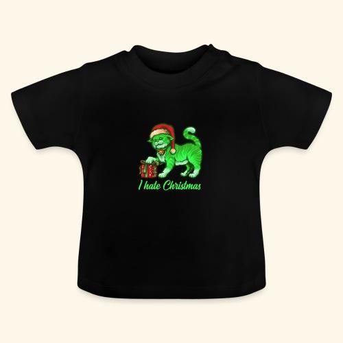 I hate Christmas giftig grüne Weihnachtsmann Katze - Baby T-Shirt