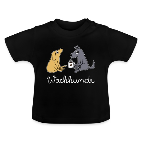 Wachhund trinkt Kaffee Koffein weckt müde Hunde - Baby T-Shirt