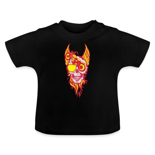 tete mort moto skull aile flamme fire - T-shirt Bébé
