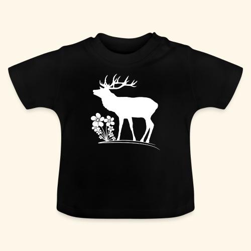 wilder Hirsch mit Blumen, Tiere, Reh, Hirsche - Baby T-Shirt
