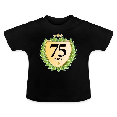 75. Geburtstag Wappen Lorbeerkranz goldene Sterne - Baby T-Shirt