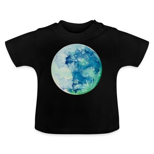 Ręcznie malowany akwarelą niebieski księżyc - Koszulka niemowlęca