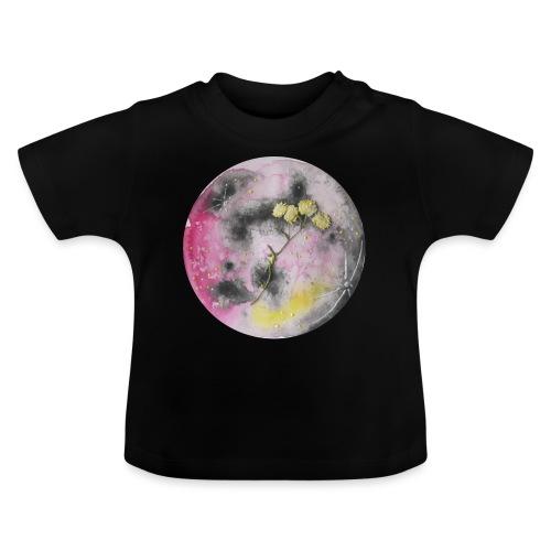 Akwarelowy księżyc w pełni z suszonymi kwiatami - Koszulka niemowlęca