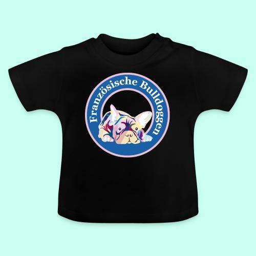 Französische Bulldoggen rosa blau - Baby T-Shirt