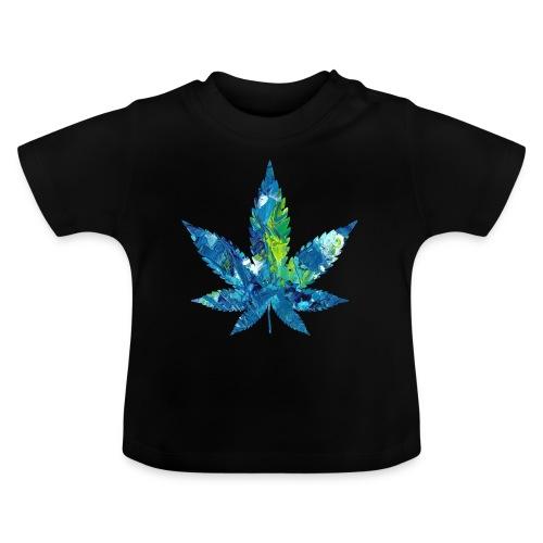 Kunstvolles Cannabisblatt in Acrylfarbe - Baby T-Shirt