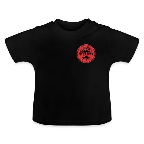 sort logo på rød baggrund med rød ring - Baby T-shirt