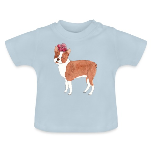 boston terrier with flower - Baby T-shirt