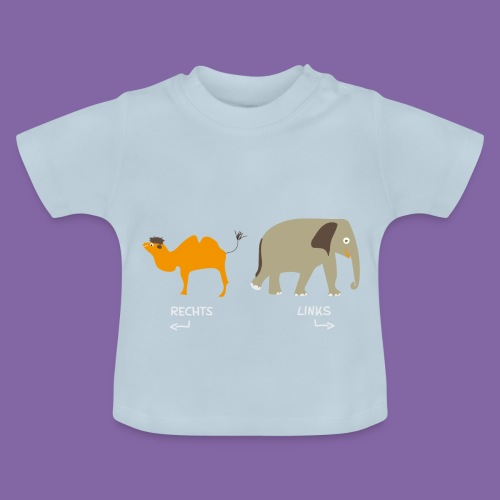 Rechts Links Lernen mit Kamel Elefant T-Shirt - Baby T-Shirt