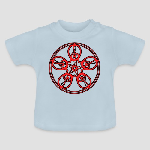 Treble Clef Mandala (red/black outline) - Baby T-Shirt
