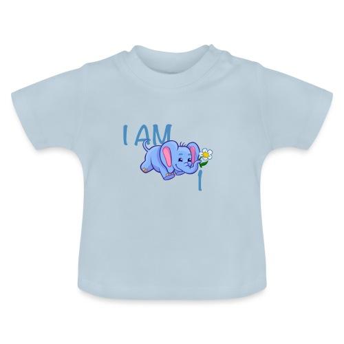 I am 1 - elephant blue - Baby T-Shirt