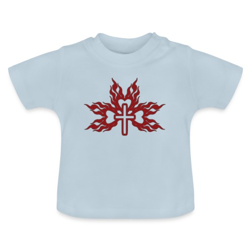 Cross with flaming hearts 01 - Baby T-Shirt